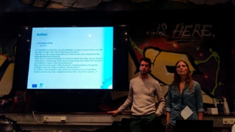 Figure 2. Dr. Maria João Fonseca and Lucas Nédélec during their joint presentation
