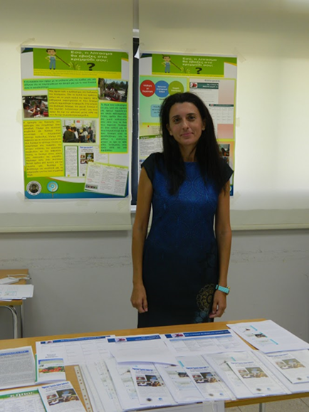 Figure 1. Alexia Alexandrou, a PARRISE Cyprus Primary School Teacher, representing her team at the Science on Stage Cyprus contest