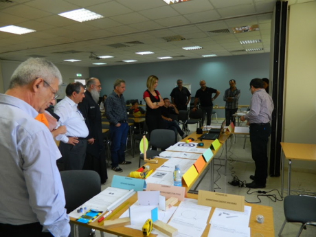 Figure 3. The jury of the Science on Stage Cyprus contest reviews teachers' learning materials