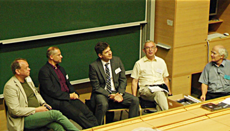 Round-table discussion, participants (from left to right): Hannu Salmi (University of Helsinki, Finland), Zsolt Fülöp (Institute for Nuclear Research, Debrecen, Hungary), Attila Aszódi (University of Technology and Economics, Budapest), David Featonby (Science on Stage Europe, United Kingdom), László Egyed (moderator of the discussion)