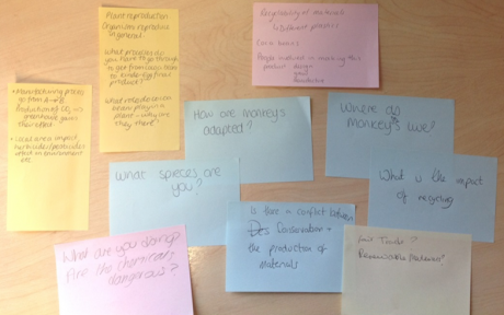 Figure 2. Some of the questions asked by participants during the Kinder egg activity