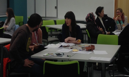 Figure 4. Participants discussing collaboratively during the two scenario activities.