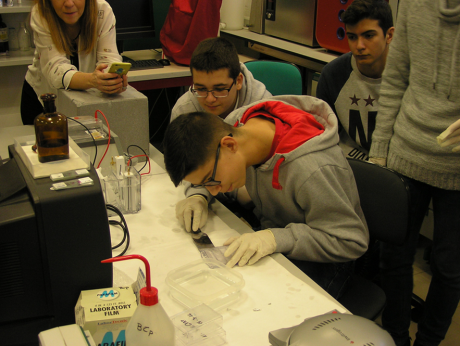 Students preparing samples and acquiring data at the University of Jaén
