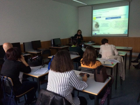 Carolina Michaelis teachers who took part in the first round of the TPD present their work to their colleagues in the second round of the course. Portugal, October, 2016. Credits: Cristina Dias